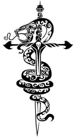 Gothic tribal tattoo design with the snake