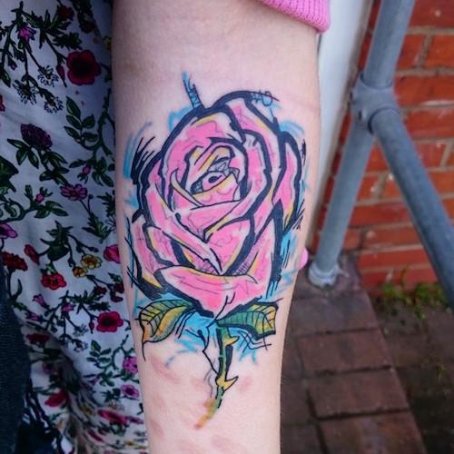 Graffiti Rose Tattoo Design