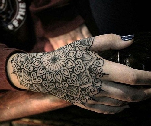 hand pattern mandala tattoo design