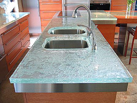 High shine glass counter top