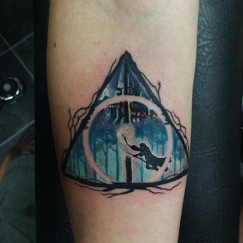 Hogwarts and Harry Porter Hallow Tattoo