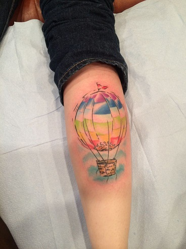 Hot Air Balloon Calf Tattoo Design