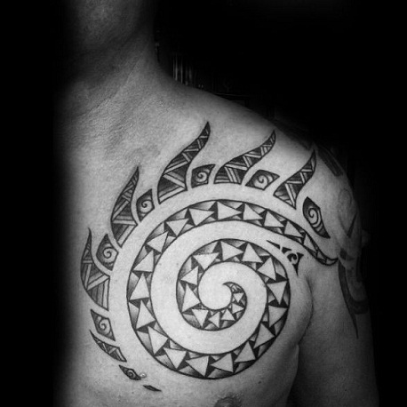 Interlaced tribal Sun tattoo