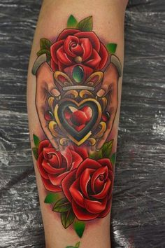 Irish Claddagh tattoo with Red roses design