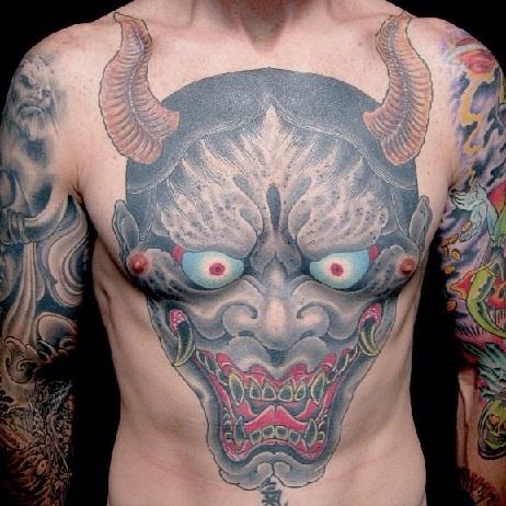 Japanese pattern demon tattoo