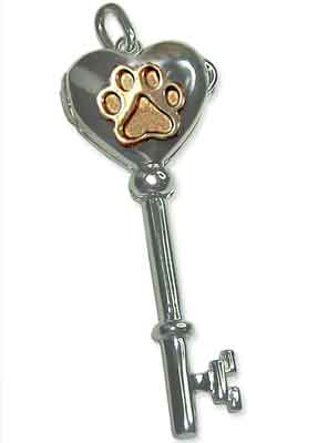 Key Locket with Puppy Paw