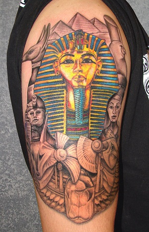 King Tut with helpers Tattoo design