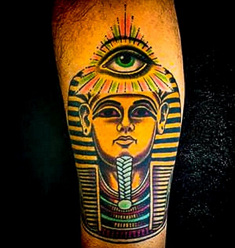 King Tut with open eye tattoo design