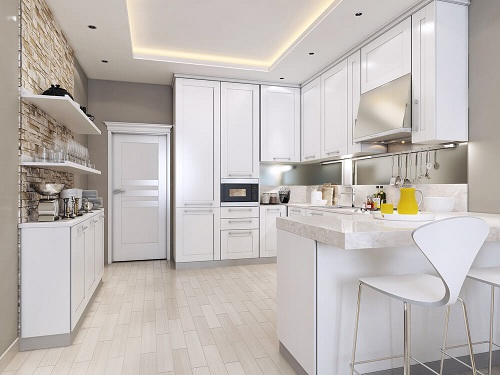 Kitchen with Racks and Small Dining Space