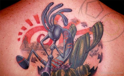 Kokopelli with Cactus tattoo