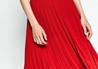 Ladies Pleated Red Midi Skirt3