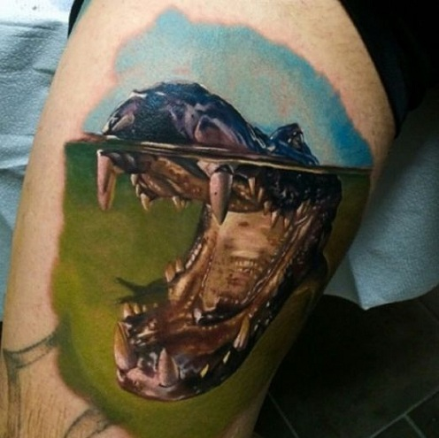 Lively Alligator Tattoo Design