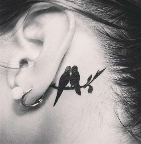 Top 15 Cute and Tiny Ear Tattoos With Images - Love Birds Couple Special Ear Tattoo