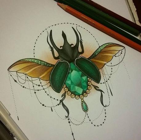 Marvellous Beetle Tattoo Design