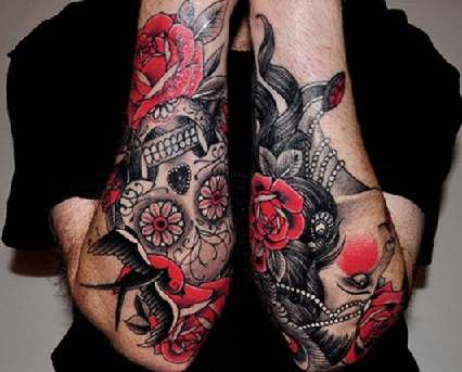 Masculine red tattoo
