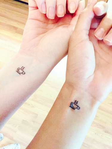 25 Stylish & Cute Matching Tattoos for Couples - Matching Coffee cup tattoo design