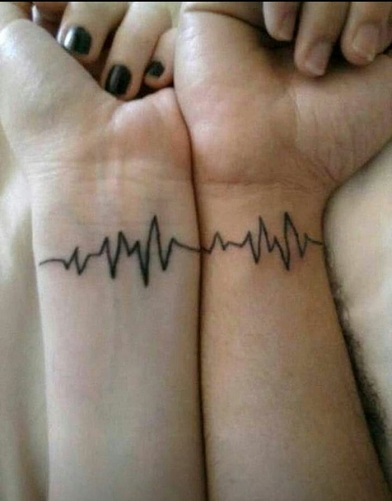 25 Stylish & Cute Matching Tattoos for Couples - Matching Heart Rate tattoo design