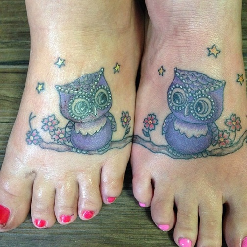 25 Stylish & Cute Matching Tattoos for Couples - Matching Owl Tattoo design