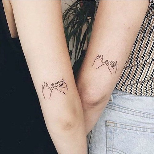 25 Stylish & Cute Matching Tattoos for Couples - Matching Pinky Tattoo Design