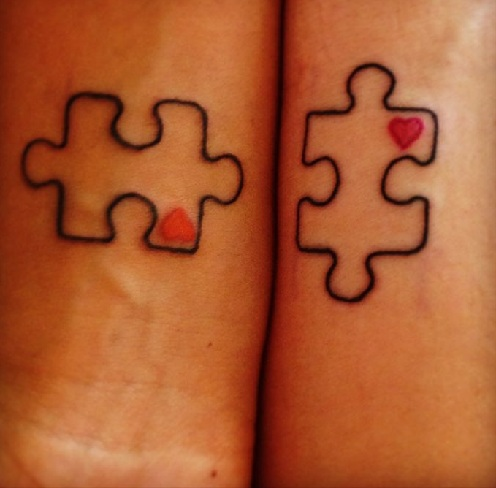 0eea7521f 25 Stylish & Cute Matching Tattoos for Couples - Matching Puzzle block  tattoo design