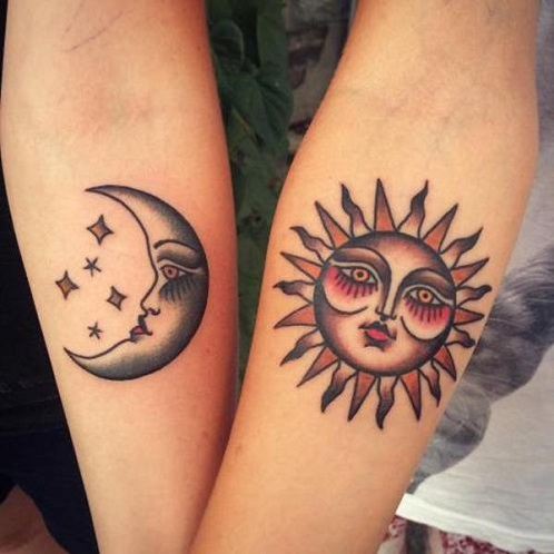 25 Stylish & Cute Matching Tattoos for Couples - Matching Sun and moon tattoo