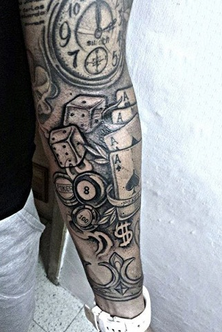 Meaningful full sleeve dice tattoo image