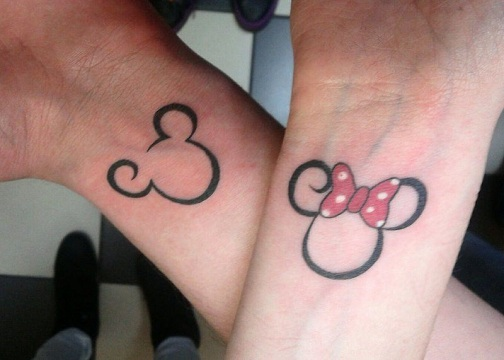 25 Stylish & Cute Matching Tattoos for Couples - Mickey and Minnie Matching Couple tattoo
