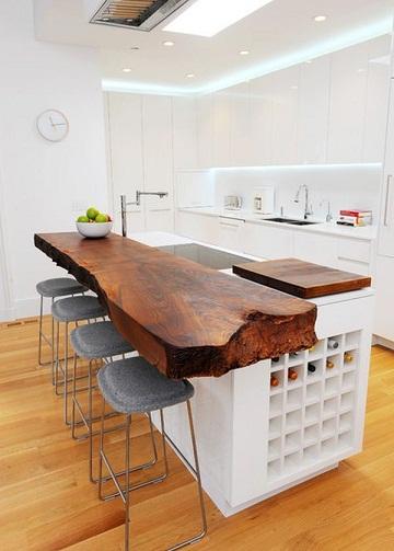 Natural Wood Kitchen Island