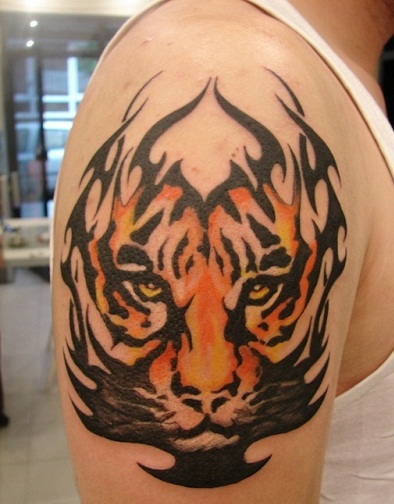 Nature patternyellow tattoo design