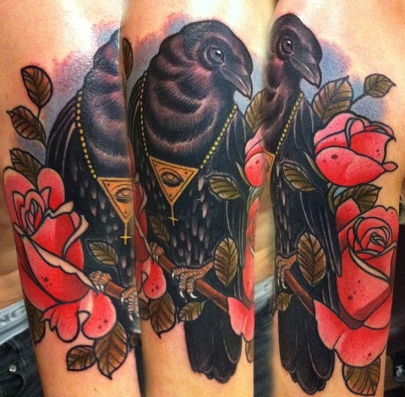 Neo traditional Crow Tattoo Designs