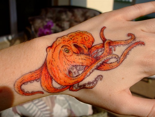 Octopus Orange Tattoo Design