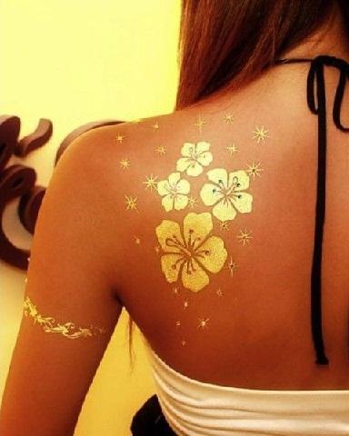 Off-shoulderdesigner Yellow tattoo