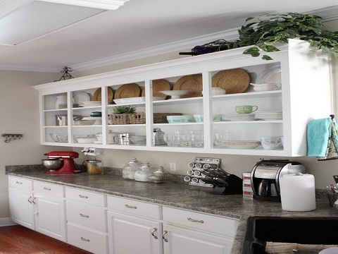 kitchen inspiration with open shelves sliding door design | 15 Best Kitchen Cupboard Designs With Pictures In India