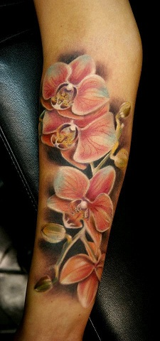 Orchid type Tribal Flower Tattoo