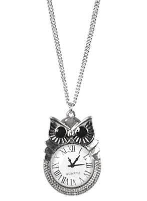Owl Clock Pendant Necklace