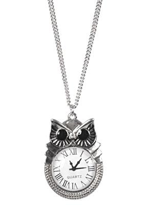 Owl Clock Pendant Necklace