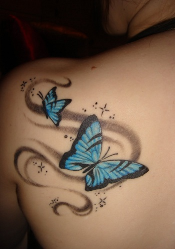 Pattern Butterfly Blue Tattoo