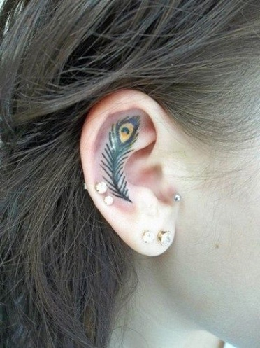 Top 15 Cute and Tiny Ear Tattoos With Images - Peacock Feather Pattern Ear Tattoo