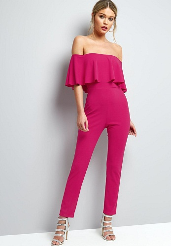 Pink Frill Bar dot Neck Culotte Jumpsuit2