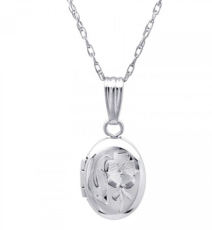 Platinum Baby Flower Locket