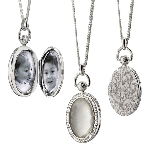 Platinum Oval Stone Locket