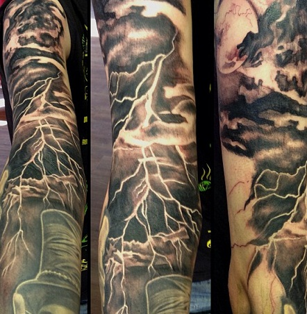 Rain and thunder Lightning tattoo designs