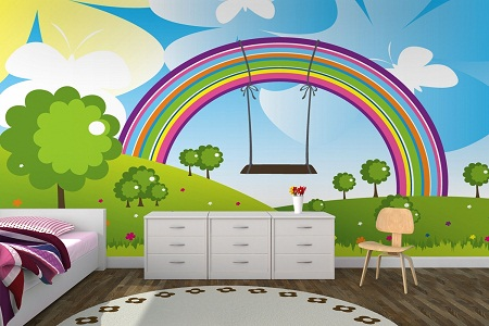 Rainbow Painted Wall Design