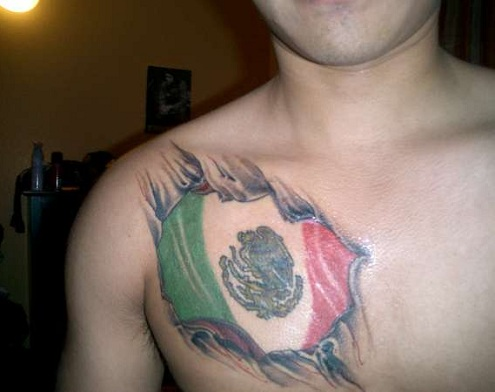 Ravishing Mexican Flag Tattoo Design