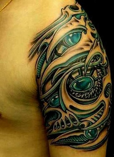 Realistic Biomechanical Tattoo Design