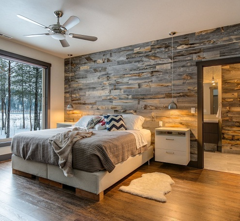 Reclaimed Wood Cemented Wall Design