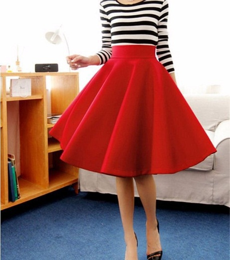 Red High Waist Skirt for Women1