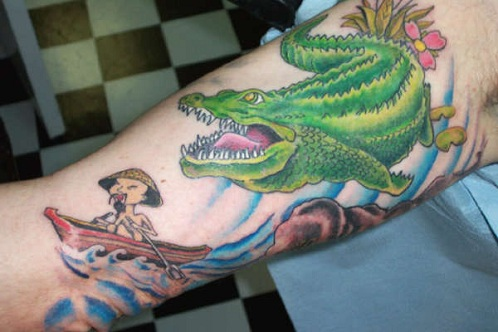 Remarkable Alligator Tattoo Design for Sleeves
