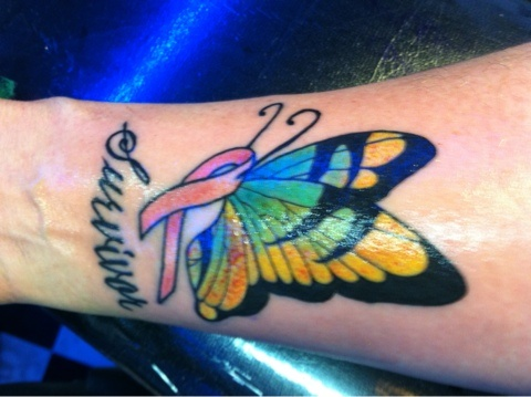 Retainer Breast Cancer Tattoo Design