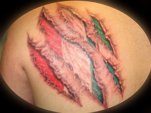 Ripped Skin Italian Flag Tattoo Design